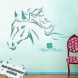 wandtattoo-welt® Wandtattoo Pferde mit Namen Kleeblatt